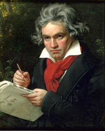 Portrait of Ludwig van Beethoven, shown holding the manuscript of the Missa solemnis
