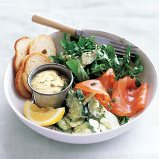 Smoked Salmon with Creamy Cucumber Salad.