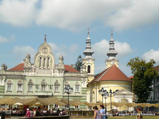 Palatul Episopiei Ortodoxe Sârbe de Timişoara (stânga) şi Catedrala Ortodoxă Sârbă din Timişoara (dreapta)
