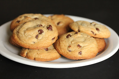 photo of a pile of chocolate chip cookies on a plate