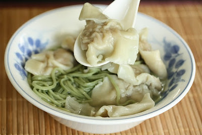 Wonton soup with green tea noodles