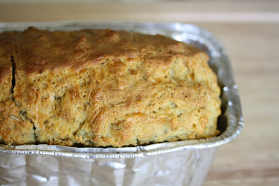 close-up photo of a loaf of Rosemary cheese beer bread