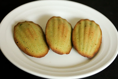 close-up photo of Matcha Madeleines on a plate