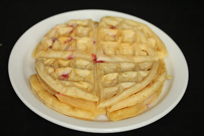 overhead photo of mochi waffles on a plate