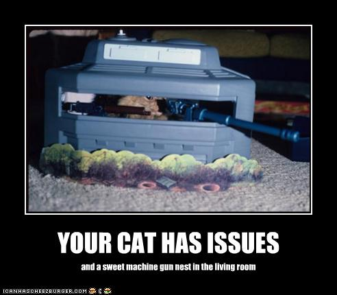photo of a cat in a machinegun nest in the living room