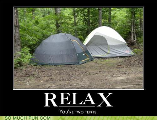photo of two tents and a bad pun