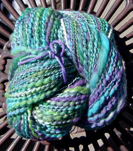 photo of pansy handspun yarn