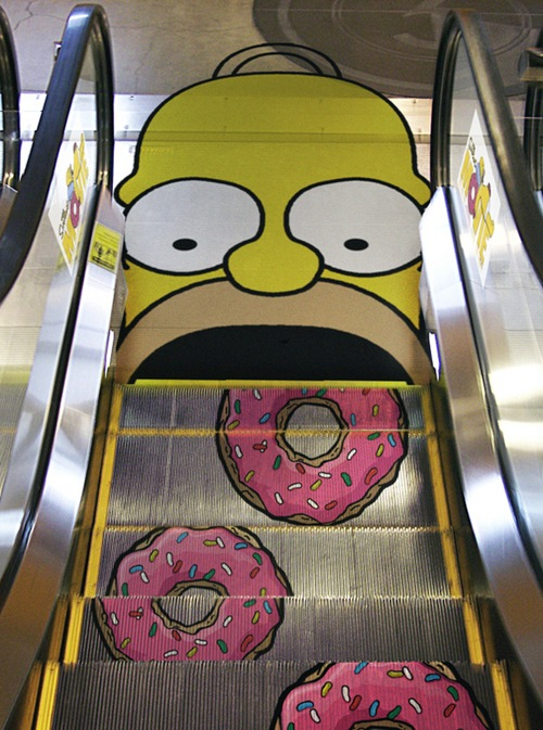 photo of a homer Simpson escalator
