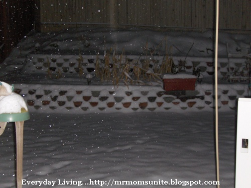 photo of the snow covered retaining wall