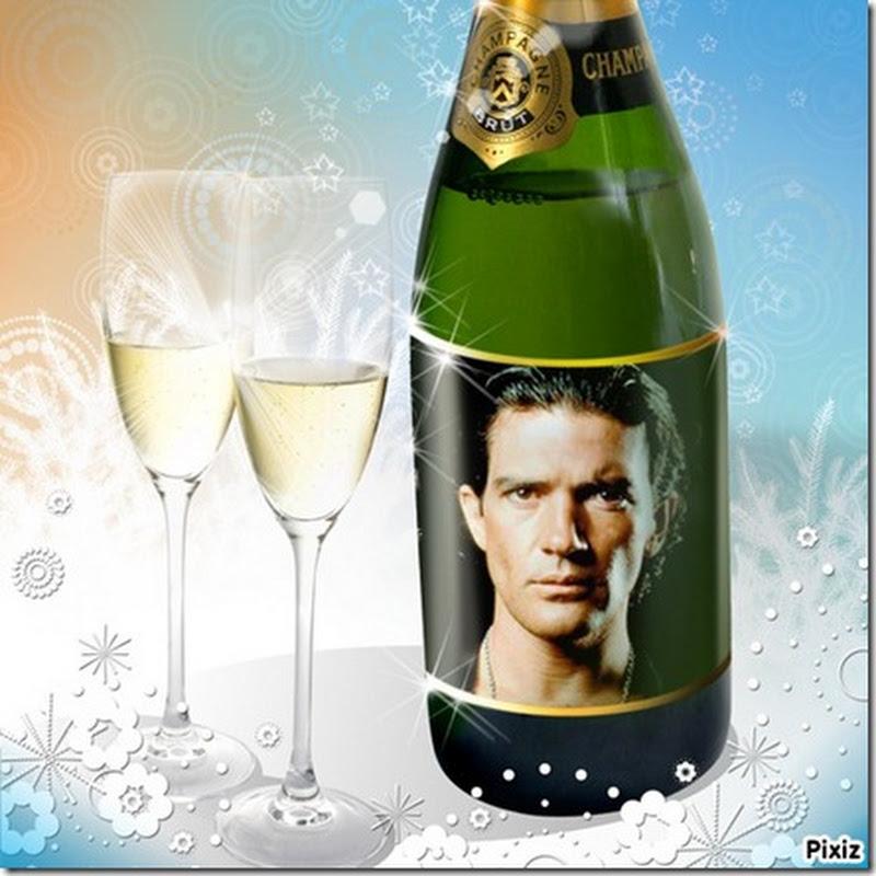 Generador imágenes Navidad: tu cara en una botella de Champaña