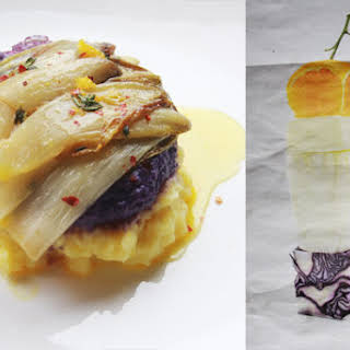 Baked Chicory With Orange Butter Sauce And Red Cabbage Puree.