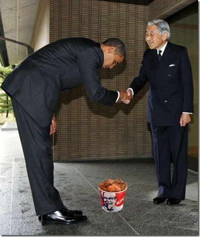 Obama bows to Emperor of Japan for fried chicken