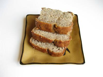 photo of three slices of banana nut bread