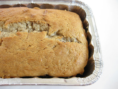 close-up photo of a loaf of banana nut bread