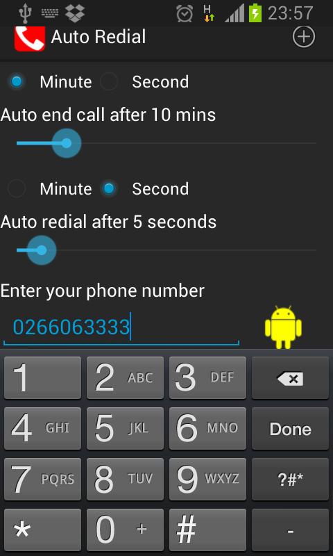 Auto Redial | call timer- screenshot