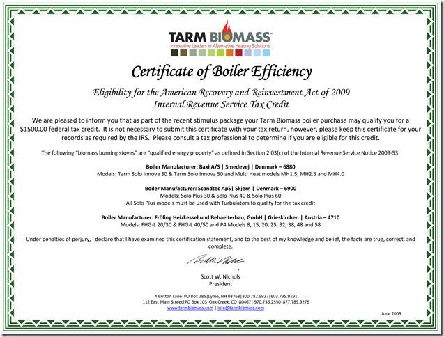 Certificate of Boiler Efficiency -