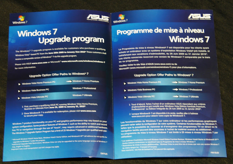 Free Upgrade to Windows 7 for Asus Customers | NotebookReview