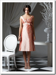 Bridesmaids dress from Dessy.com - Tea-length scoop neck silk shantung dress with shirring at bodice and bow detail at empire waist.