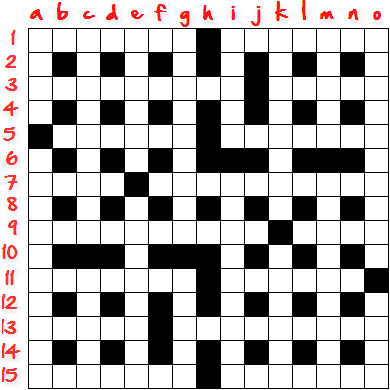 15x15 Crossword Grid, to be numbered