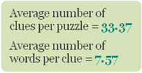 Avg no. of clues per puzzle=33.37; Avg no. of words per clue=7.57