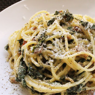 Skillet Spaghetti alla Carbonara with Kale.