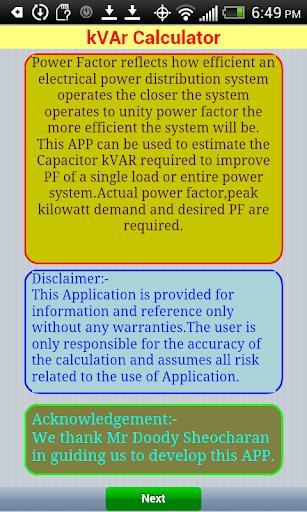 kVAr Calculator