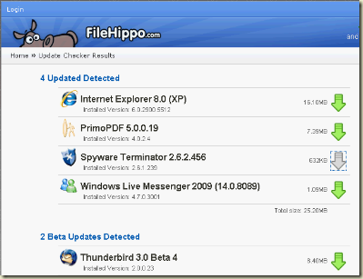 Filehippo Update Checker Screenshot showing Results