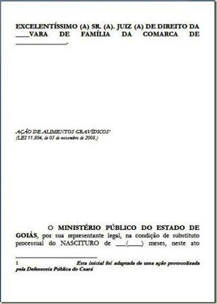 Modelo De Petição Ação De Alimentos Gravídicos Direito