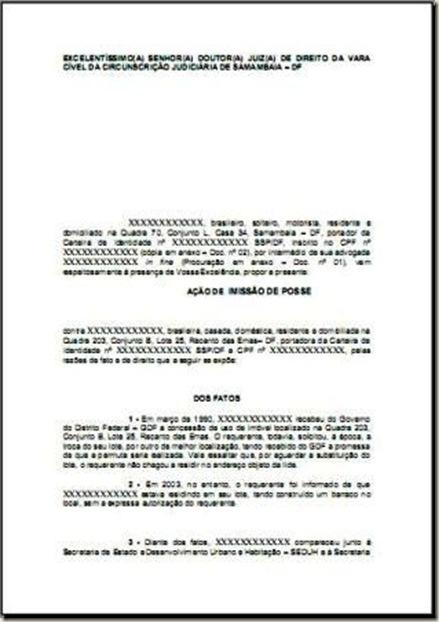 Modelo De Petição De Ação De Imissão De Posse E