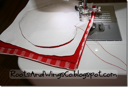 6 using a very small stitch length sew around apple remember your needle isn't for paper