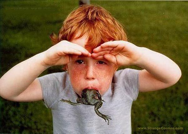 15 reasons why boys need strict parents - Boy with frog in mouth
