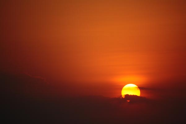 Sunrise Photographed at High Shutter Speed on Way to Ranjangaon