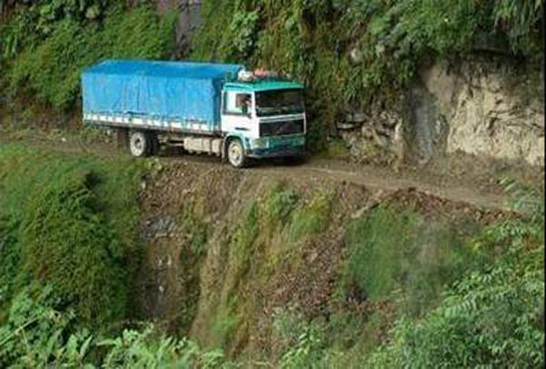 Bolivian Highway - Deadly Bolivian Highway - Truck at unimaginable place