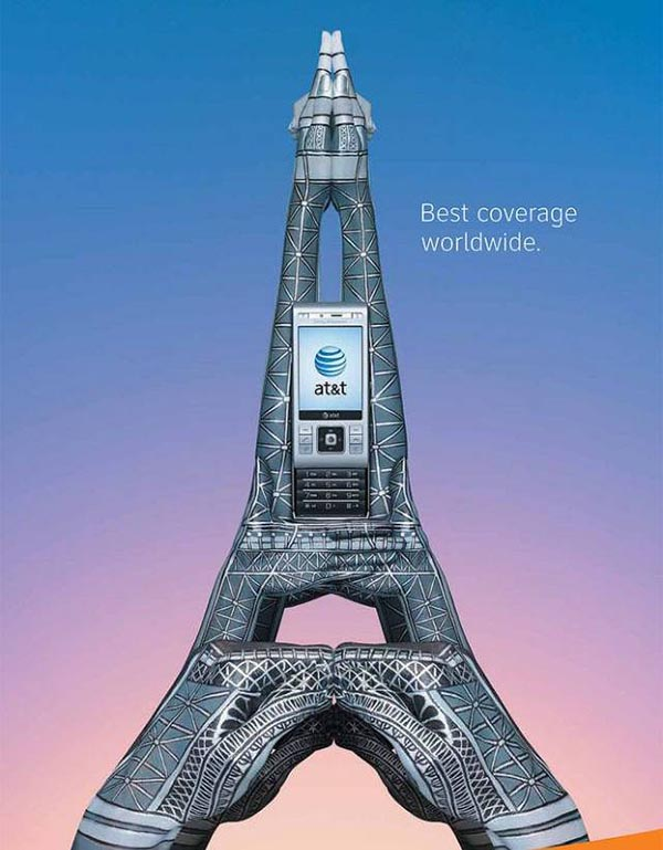 23 creative ads by AT&T [hand-modelling advertisements] - Eiffel tower, Paris, France
