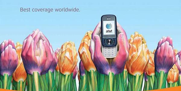 23 creative ads by AT&T [hand-modelling advertisements] - Colorful tulips