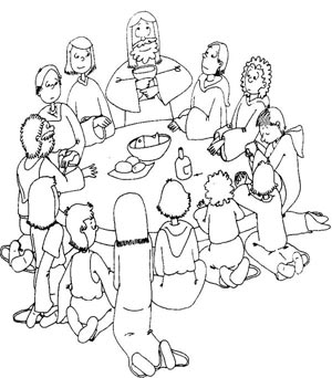 Dibujo De La Ultima Cena Para Colorear