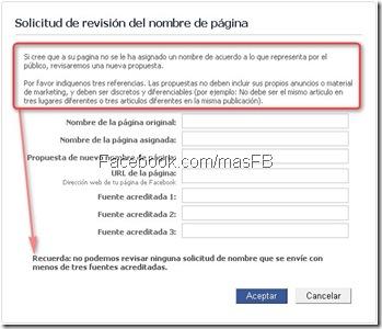 Cambiar nombre de Paginas Facebook