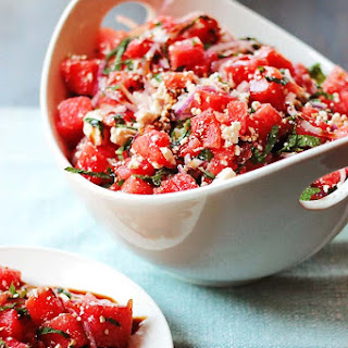 Watermelon and Feta Salad with Balsamic Reduction.