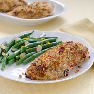 Cranberry-orange-stuffing-crusted Chicken.