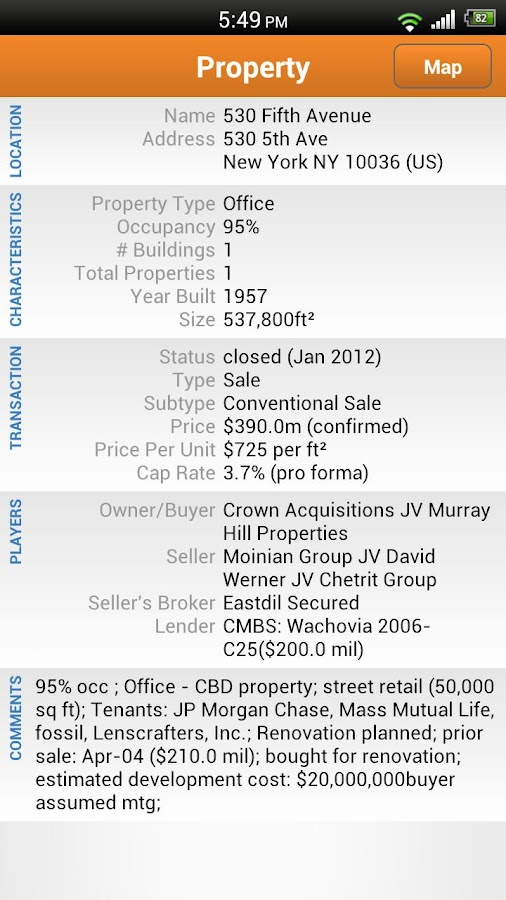 RCA Commercial Property Search- screenshot