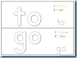 Color By Number Sight Words to go
