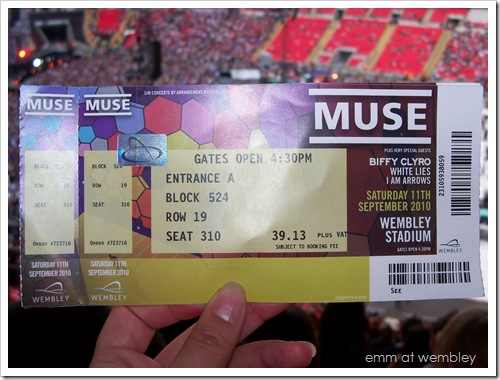Ticket, Muse at Wembley Staium, September 11 2010