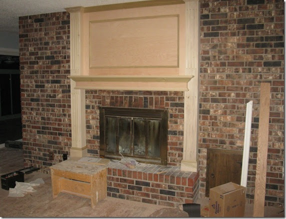 Lakeshore cottage living fireplace makeover - Floor to ceiling brick fireplace makeover ...