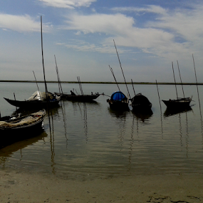 Boats Of Padma by Arif Hossain - Transportation Boats ( sunset on padma river, sunset, padma, boat, river )