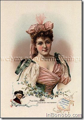 The American Tobacco Company, successor to Allen and Ginter, issued a large souvenir booklet in 1893 titled Floral Beauties. Lillian Russell and Miss Johnstone Bennett, plus ten other popular stage actresses were pictured with different floral arrangements. Miss Russell's page pictures her with Forget-me-nots, and states that the flowers mean true friendship. Miss Bennett is pictured with a Carnation, which means pride and beauty. The booklet's high quality chromolithography makes these paintings absolutely breathtaking. Floral Beauties was a mail in offer advertising either Richmond Straight Cut or Pet cigarettes.