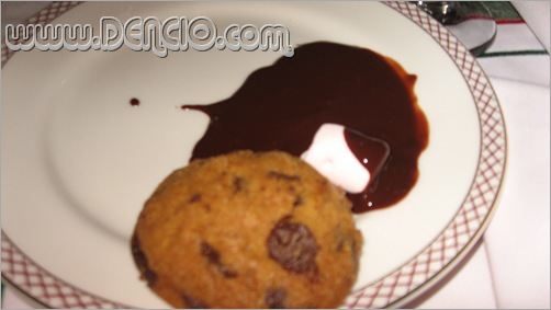 Cookie Dipped in Dark Chocolate Fondue