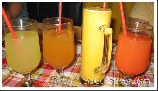 Juices P50, Ice Tea (Bottomless) P65, Mango Shake P65