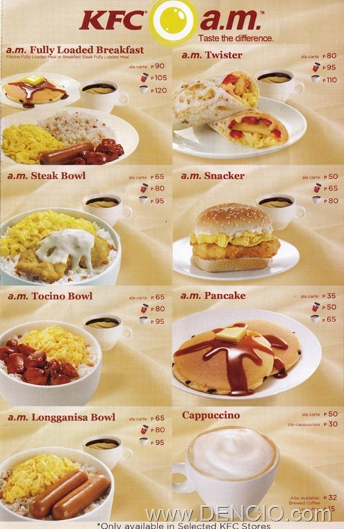 KFC Breakfast Menu 1