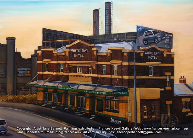 oil painting  of the White Bay Hotel and White Bay Power Station by artist Jane Bennett