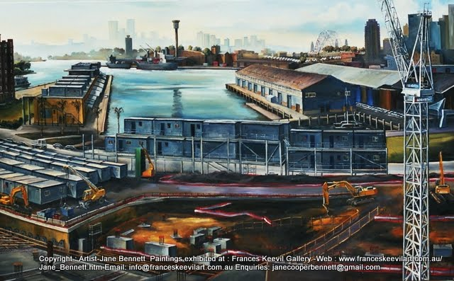 plein air oil painting of building of Star Casino and Darling Island Goods Yard  in Pyrmont from roof of Pyrmont Power Station by industrial heritage artist Jane Bennett
